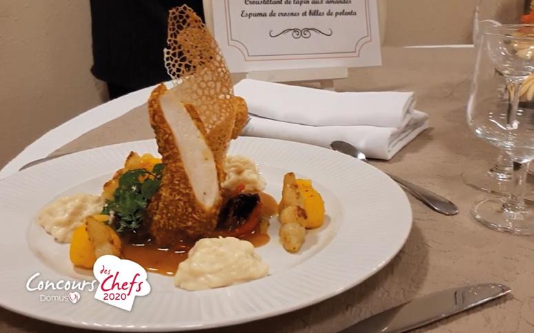 Croustillant de lapin aux amandes avec espuma de crosnes et billes de polenta Photos ©DomusVi